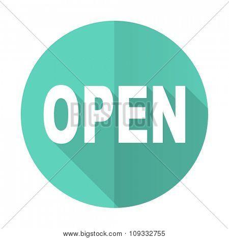 open blue web flat design circle icon on white background