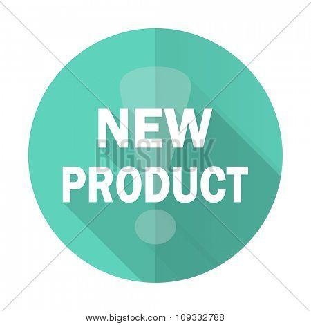 new product blue web flat design circle icon on white background
