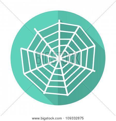 spider web blue web flat design circle icon on white background