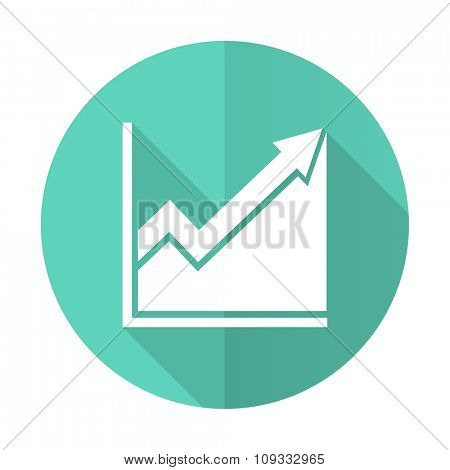 histogram blue web flat design circle icon on white background