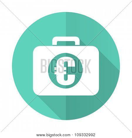 financial blue web flat design circle icon on white background