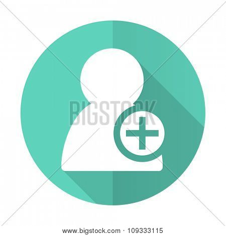 add contact blue web flat design circle icon on white background