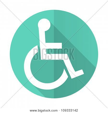 wheelchair blue web flat design circle icon on white background