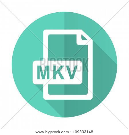 mkv file blue web flat design circle icon on white background