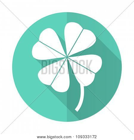 four-leaf clover blue web flat design circle icon on white background
