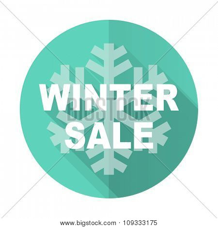 winter sale blue web flat design circle icon on white background