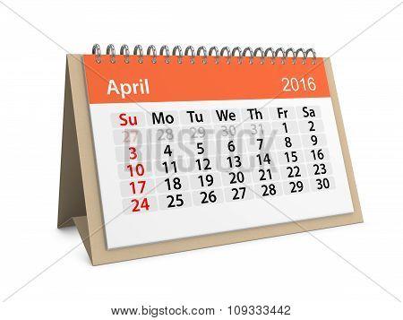 Monthly Calendar For April 2016. 3D Illustration