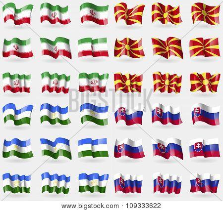 Iran, Macedonia, Bashkortostan, Slovakia. Set Of 36 Flags Of The Countries Of The World.