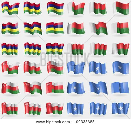 Mauritius, Madagascar, Oman, Somalia. Set Of 36 Flags Of The Countries Of The World.