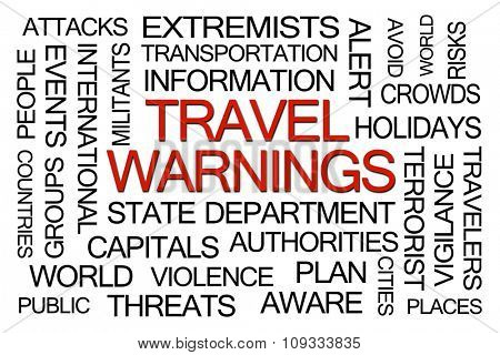 Travel Warnings Word Cloud on White Background