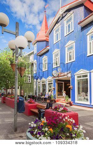 Pedestrian Street In The Center Of Akureyri, Iceland