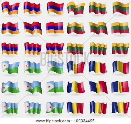 Armenia, Lithuania, Djibouti, Romania. Set Of 36 Flags Of The Countries Of The World.