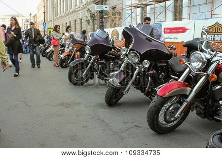 Number Of Motorcycles Along The Street.