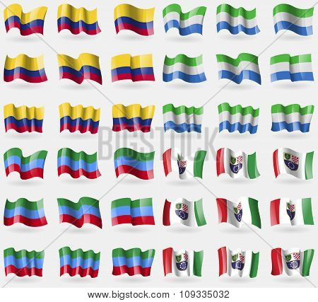 Colombia, Sierra Leonne, Dagestan, Bosnia And Herzegovina Federation. Set Of 36 Flags Of The