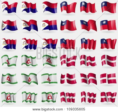 Saint Martin, Taiwan, Ingushetia, Denmark. Set Of 36 Flags Of The Countries Of