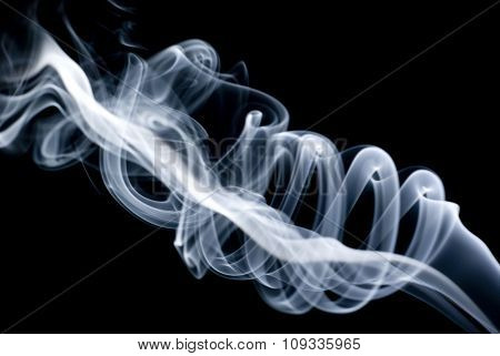 White smoke on black background, abstract smoke