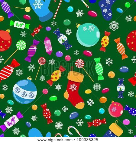 Seamless Pattern Of Candies And Christmas Symbols