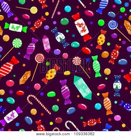 Seamless Pattern Of Candies