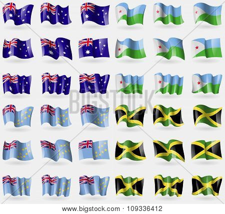 Australia, Djibouti, Tuvalu, Jamaica. Set Of 36 Flags Of The Countries Of