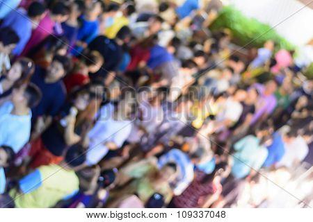 Blur crowd in loy krathong festival