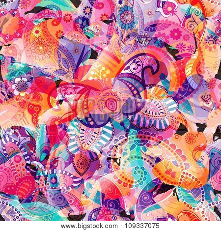 Colorful seamless pattern. Abstract briht wallpaper, background