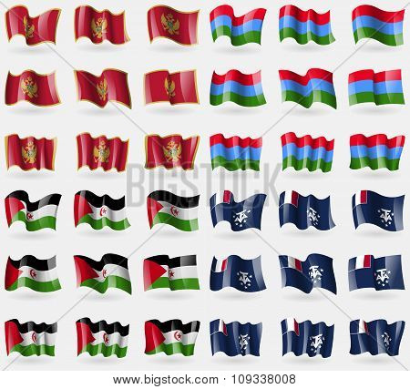 Montenegro, Karelia, Western Sahara, French And Antarctic. Set Of 36 Flags Of The Countries Of The
