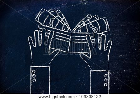 Flat Illustration Of Hands Holding A Wallet Full Of Cash