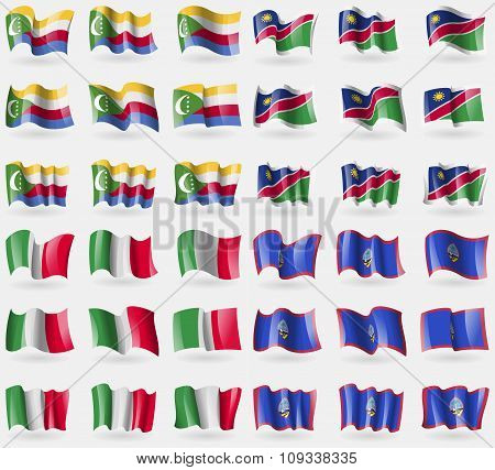Comoros, Namibia, Italy, Guam. Set Of 36 Flags Of The Countries Of The World.
