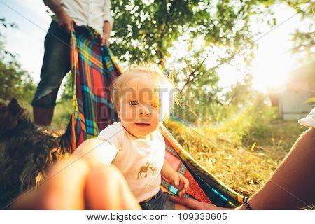 Happy joyful young family