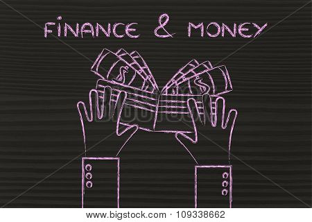 Hands Holding A Wallet Full Of Cash, With Text Finance & Money