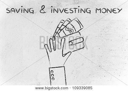 Hands With Wallet And Banknotes, With Text Saving & Investing Money