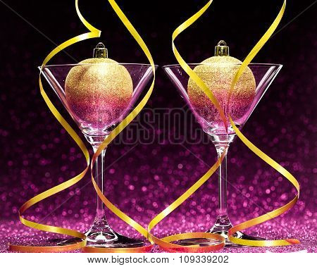 two glasses ready for christmas celebration