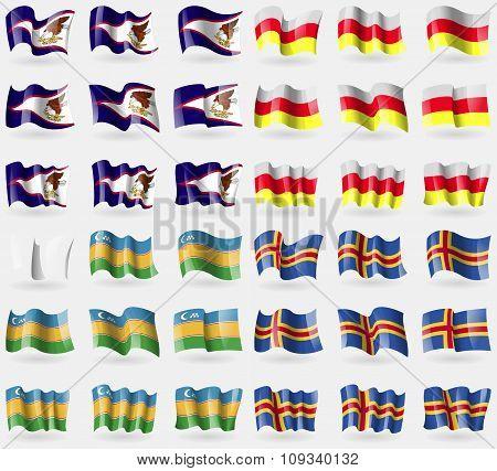 American Samoa, North Ossetia, Karakalpakstan, Aland. Set Of 36 Flags Of The Countries Of The