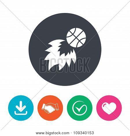 Basketball Fireball Sign Icon Sport Symbol Poster Id109340153
