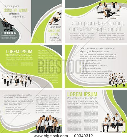 Green templates for advertising brochures with business people