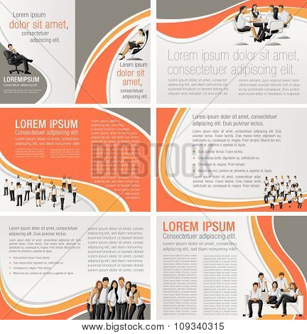 Orange templates for advertising brochures with business people