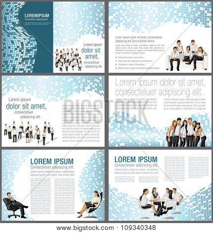 Blue templates for advertising brochures with business people