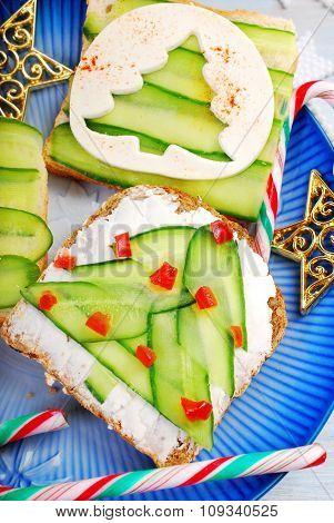 Two Christmas Tree Shape Sandwiches