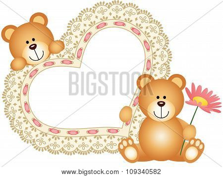 Teddy bears with blank embroidered heart