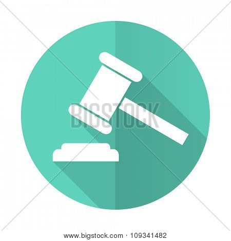 auction blue web flat design circle icon on white background