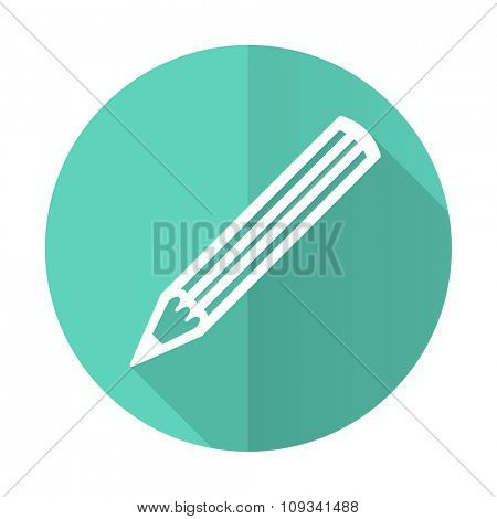 pencil blue web flat design circle icon on white background