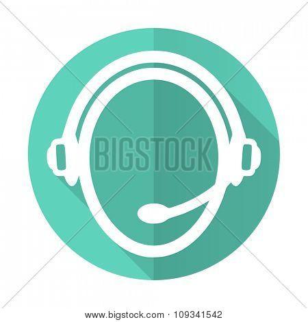 customer service blue web flat design circle icon on white background