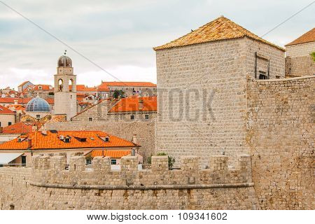 Old town of Dubrovnik, Croatia, clock tower and city walls, UNESCO site