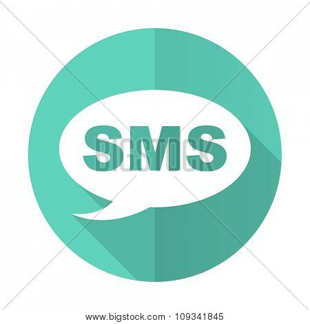 sms blue web flat design circle icon on white background