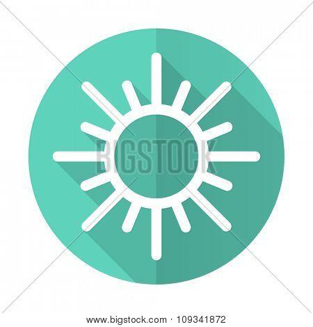 sun blue web flat design circle icon on white background
