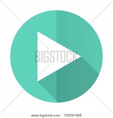 play blue web flat design circle icon on white background