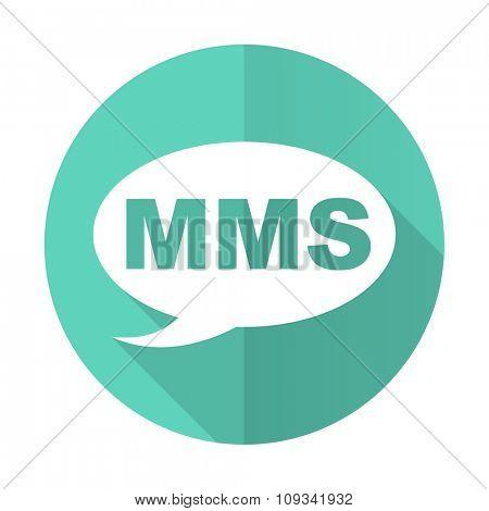 mms blue web flat design circle icon on white background