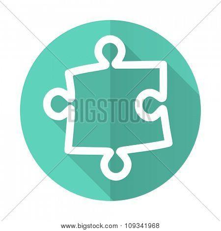 puzzle blue web flat design circle icon on white background