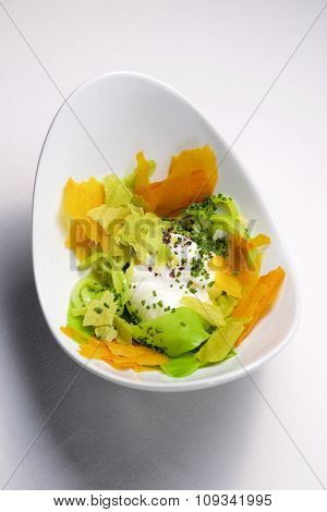 Poached egg with vegetables.