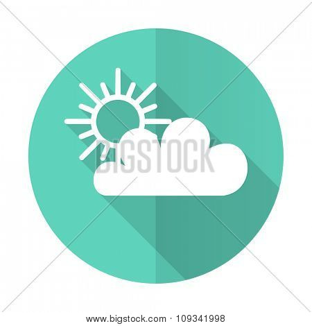 cloud blue web flat design circle icon on white background